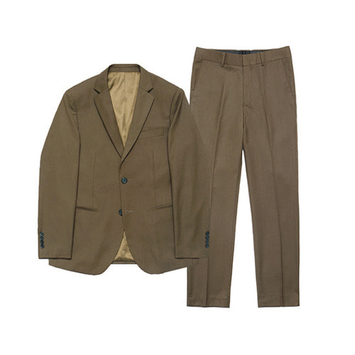 [LAFUDGESTORE] Metier Tapered Set-up Suit_Brown
