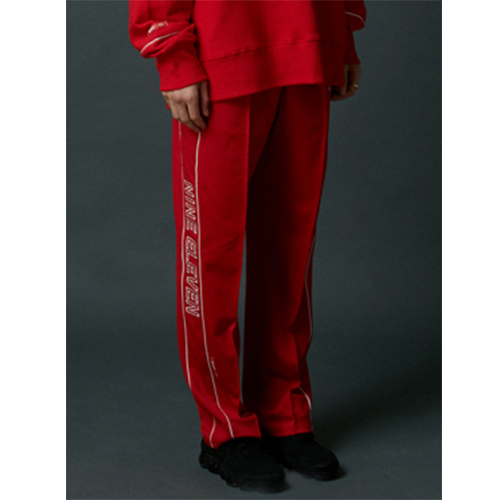 [Nine Eleven] NE side-lined training pants - red