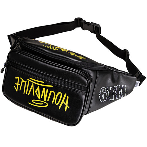 [하운드빌] SEOUL artificial leather waist bag black