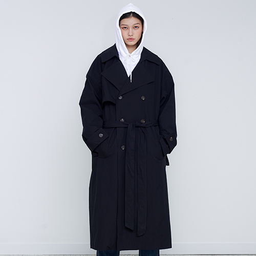 [OY] OVER TRENCH COAT - BK