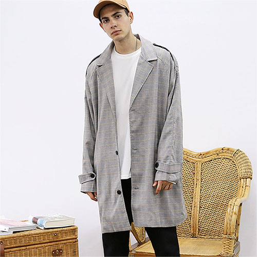 [TENBLADE] [Project 36.5]Over fit Hide Glen Check Coat_gray