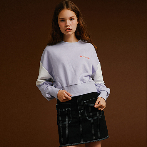 [MOTIVESTREET]CROP TOP SWEAT SHIRT PURPLE
