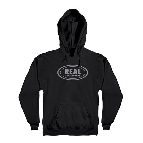 [REAL] OG OVAL PULLOVER HOODED SWEATSHIRT - BLACK/GREY