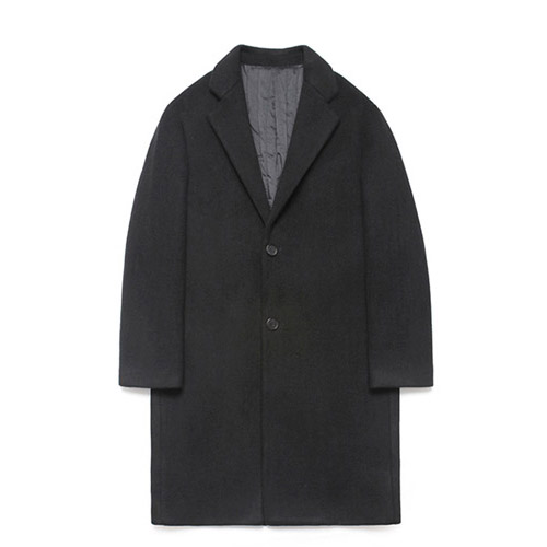 [LAFUDGESTORE] Wool Single Coat_Black