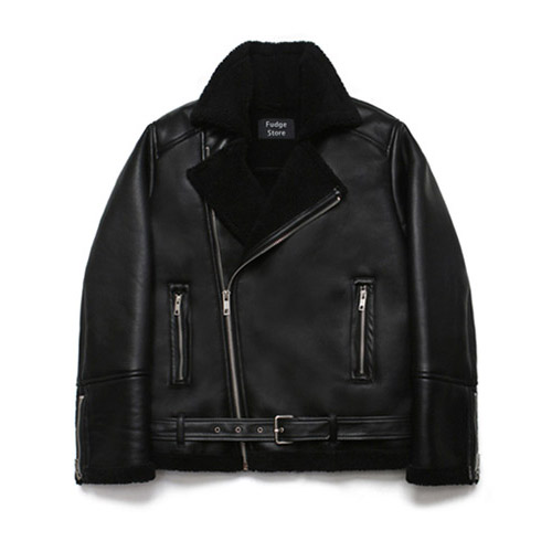 [LAFUDGESTORE] Over Size Rider Mouton Jacket_Rank Black