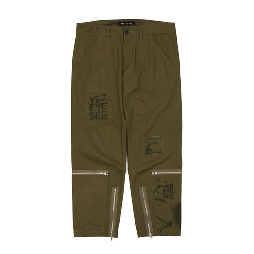 [yeseyesee] Y.E.S PATCHED PANTS OLIVE