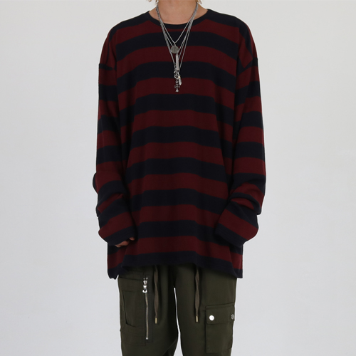 [Innovant] Round neck stripe over long sleeve (burgundy)