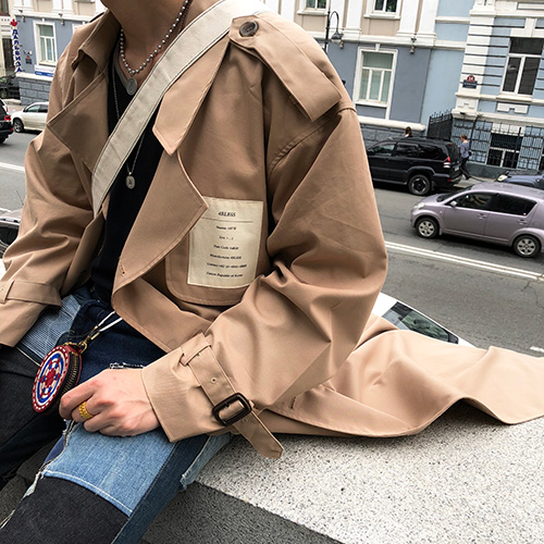 [4BLESS] Label Over Trench Coat Beige