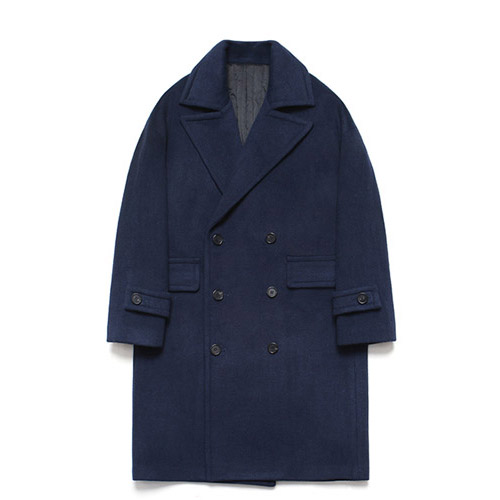 [LAFUDGESTORE] Wool Over Double Coat_Patient Navy