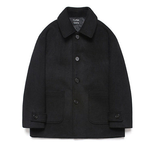 [LAFUDGESTORE] Wool Over Half Coat_Black