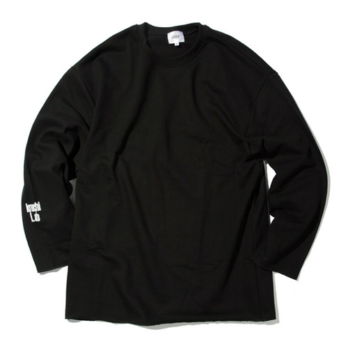 [KRUCHI] Lab logo loose fit Crewneck (Black)