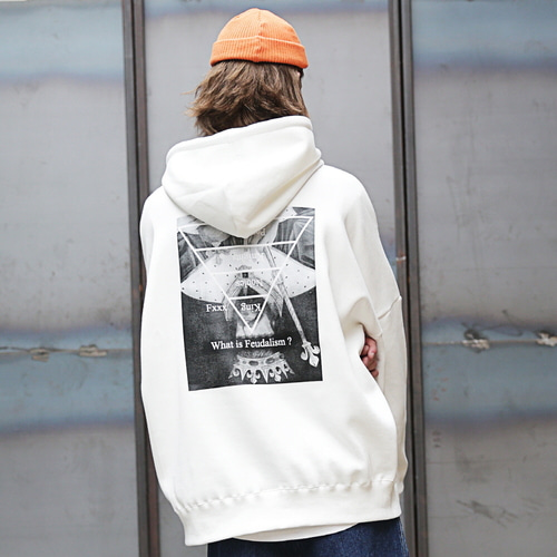 [MASSNOUN] FEUDALISM OVER-FIT HOODIE MFEHD001-WT