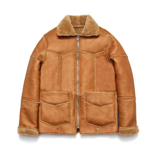 [LAFUDGESTORE] Patchwork Real Mouton Jacket_Camel