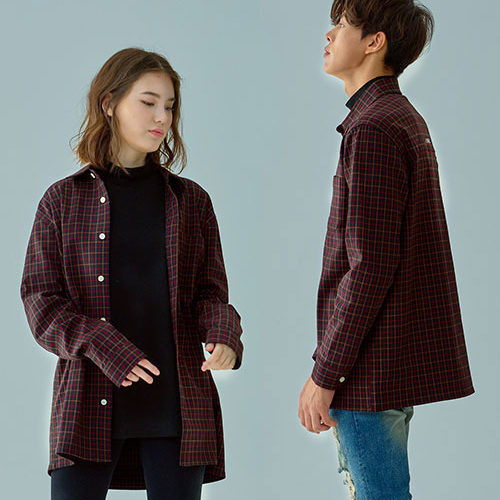 [OROR] R1-026 CHECK SHIRTS - BURGUNDY