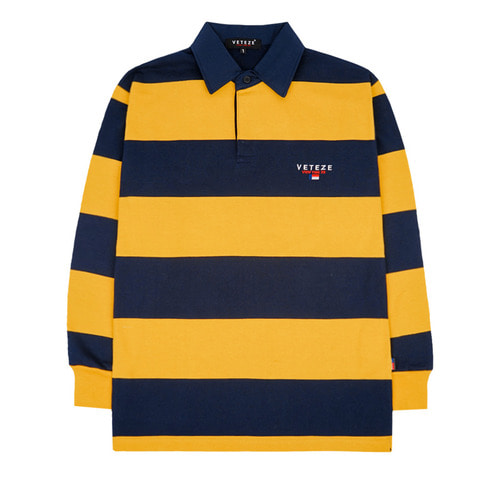 [VETEZE] Stripe Rugby T-shirts (yellow)
