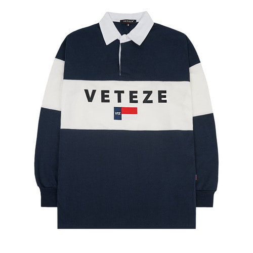 (M사이즈 11/5, L사이즈 10/26 출고예정)[VETEZE] Big Logo Rugby T-shirt (navy / white)