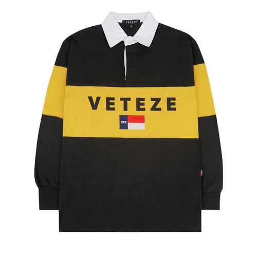 (L사이즈 10월26일 출고예정)[VETEZE] Big Logo Rugby T-shirt (black / yellow)