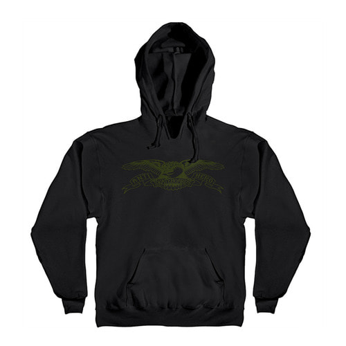[안티히어로] BASIC EAGLE PULLOVER HOODED SWEATSHIRT - BLACK/ARMY