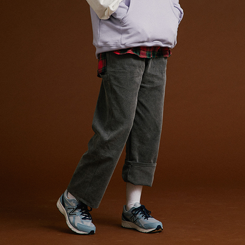 [MOTIVESTREET]WIDE COTTON PANTS GRAY