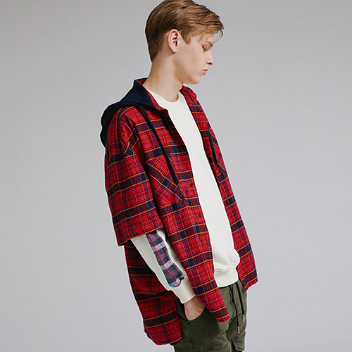 [MOTIVESTREET]CHECK HOODIE SHIRTS RED