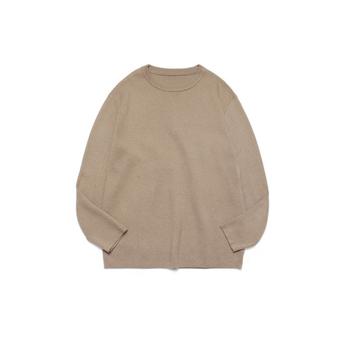 [LAFUDGESTORE] Merino Wool Round Knit_Walnut Brown