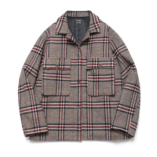 [LAFUDGESTORE] [5온스 퀄팅] Wide Check Wool Trucker_Tatan Check