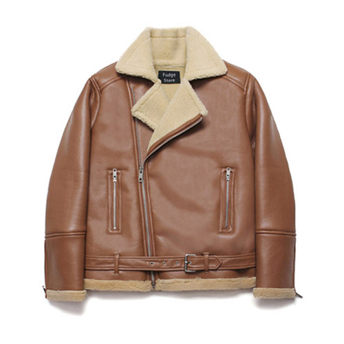 [LAFUDGESTORE] Over Size Rider Mouton Jacket_Rich Brown