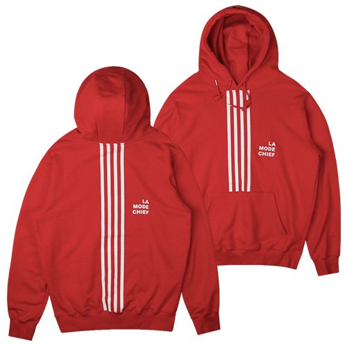 [LAMODECHIEF] LAMC STANDARD SIZE FOUR LINE HOODY(RED)