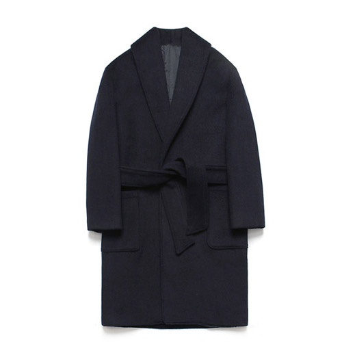 [LAFUDGESTORE] Wool robe Coat_Dusky Navy