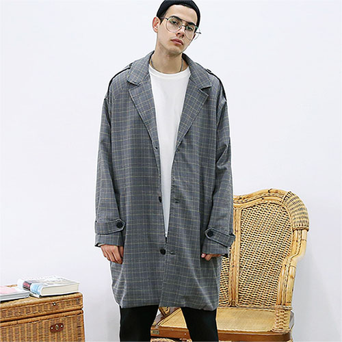 [TENBLADE] [Project 36.5]Over fit Hide Glen Check Coat_wolfgray