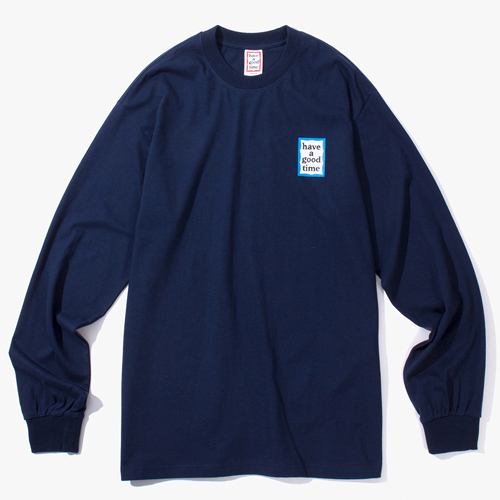 [Have a good time] BLUE MINI FRAME L/S TEE - NAVY