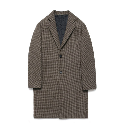 [LAFUDGESTORE] Wool Single Coat_Hound's tooth check Brown