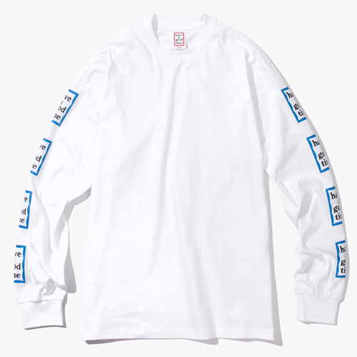 [Have a good time] BLUE ARM FRAME L/S TEE - WHITE