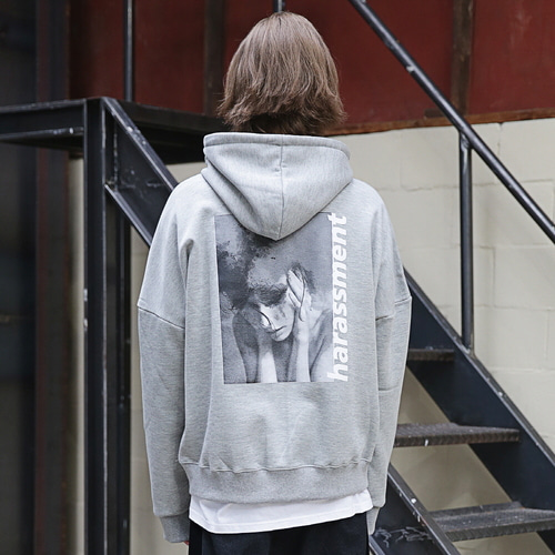 [MASSNOUN] HARSSMENT OVER-FIT HOODIE MFEHD002-GR