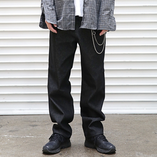 [MASSNOUN] NON WASHED EASY WIDE DENIM PANTS MFEJP004-BK