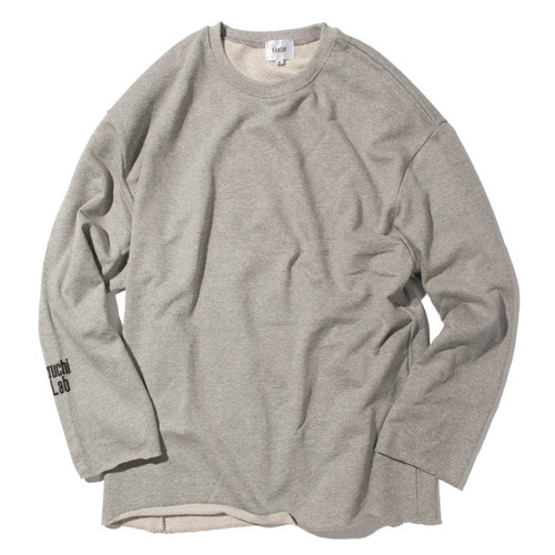 [KRUCHI] Lab logo loose fit Crewneck (Gray)