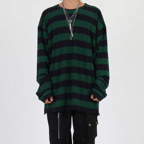 [Innovant] Round neck stripe over long sleeve (green)