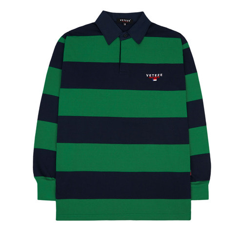 [VETEZE] Stripe Rugby T-shirts (green)