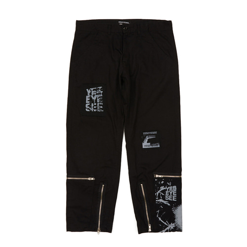 [yeseyesee] Y.E.S PATCHED PANTS BLACK