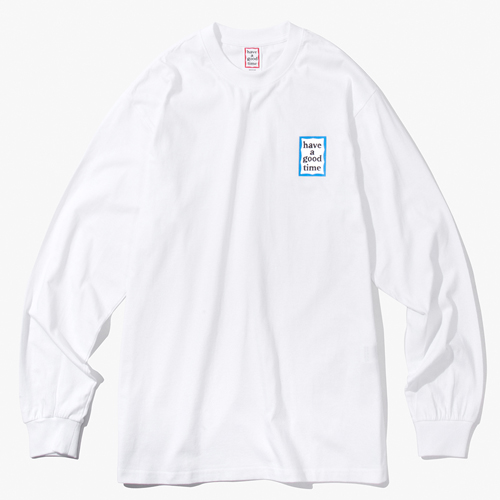 [Have a good time] BLUE MINI FRAME L/S TEE - WHITE