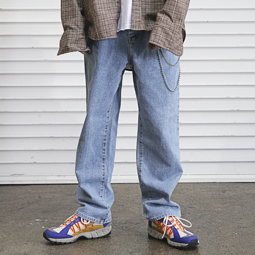 [MASSNOUN] STN WASHED EASY WIDE DENIM PANTS MFEJP005-BL