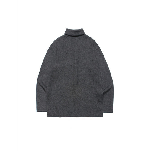 [LAFUDGESTORE] Merino Wool Polo Knit_Charcoal