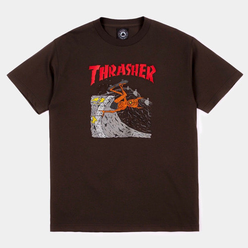 [Thrasher] NECKFACE INVERT S/S T-Shirts - Brown