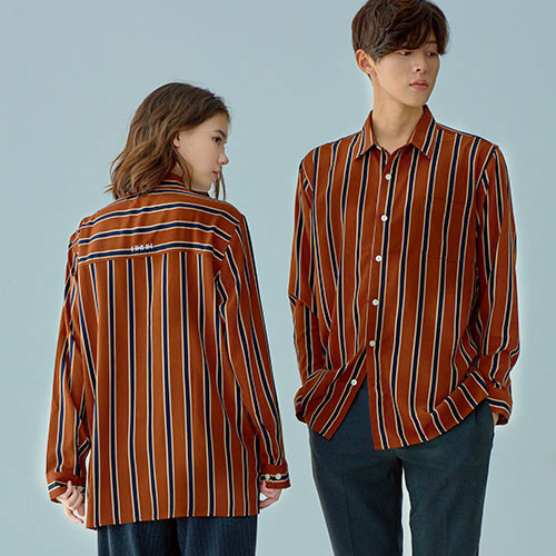 [OROR] R1-023 STRIPE SHIRTS - BROWN