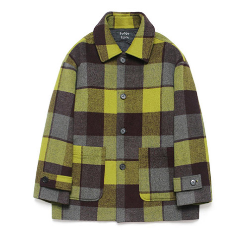 [LAFUDGESTORE] Wool Over Half Coat_Madras Check Yellow Gold