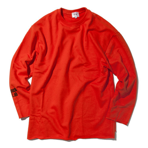 [KRUCHI] Lab logo loose fit Crewneck (Orange)