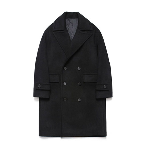 [LAFUDGESTORE] Wool Over Double Coat_Black
