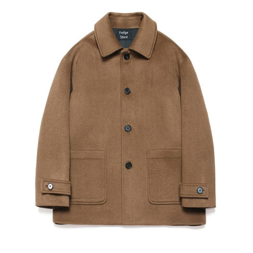 [LAFUDGESTORE] Wool Over Half Coat_Russet Camel