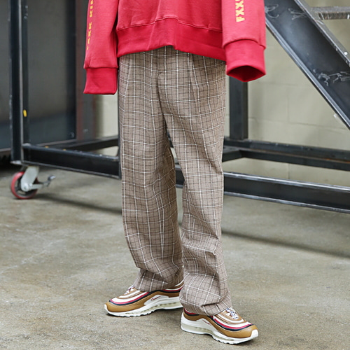 [MASSNOUN] DL CHECK WIDE SLACKS MFETT002-BG