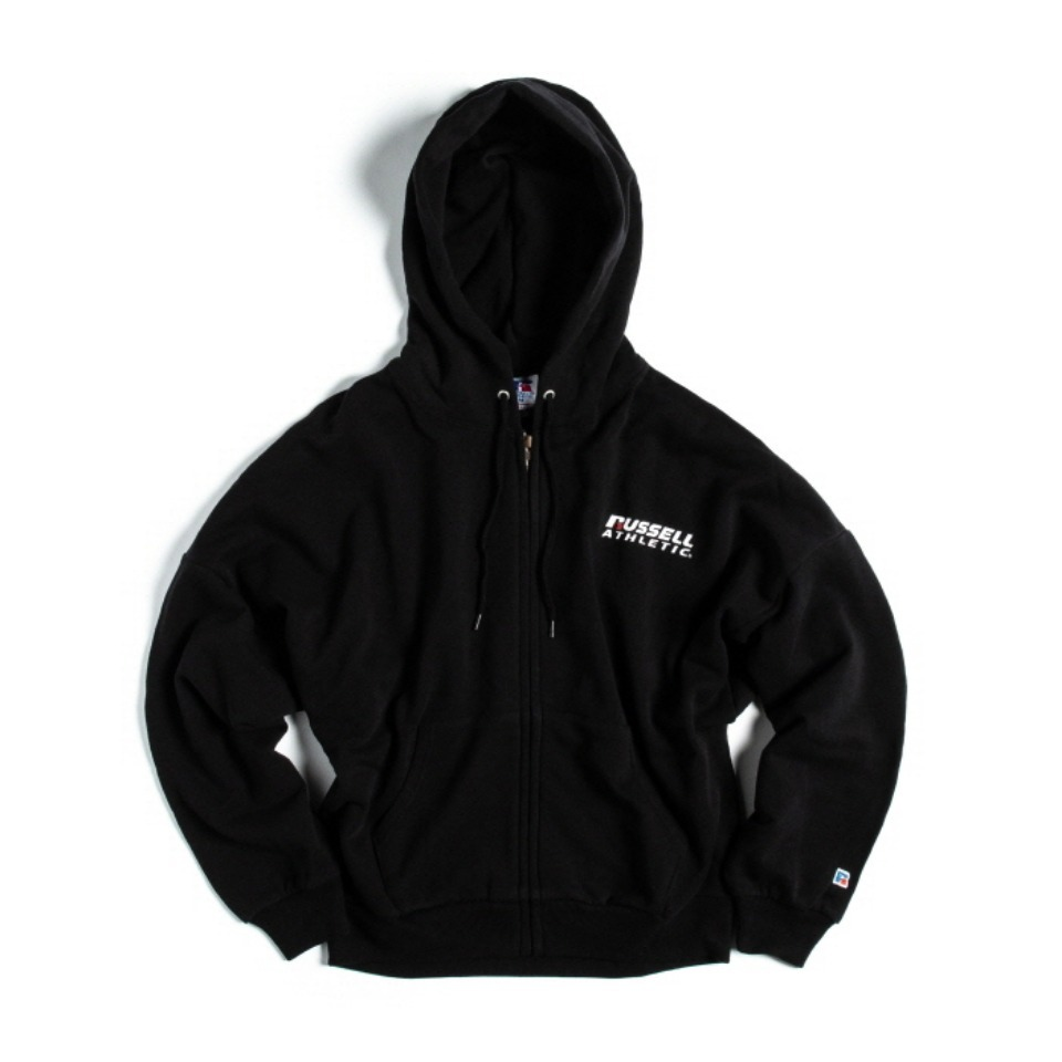 [RUSSELL ATHLETIC] BOOKSTORE SWEAT BAT-WING ZIP UP HOODIE (WOMEN'S) - BLACK